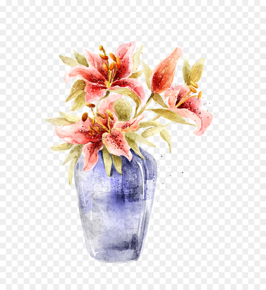 900x980 Vase Watercolor Painting