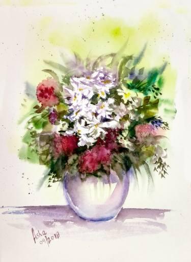 375x512 Vase Of Flowers Watercolor Painting Painting By Asudhaker S