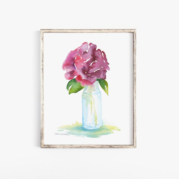 570x570 Watercolor Rose In Glass Vase 11 X 14 Giclee Print Etsy