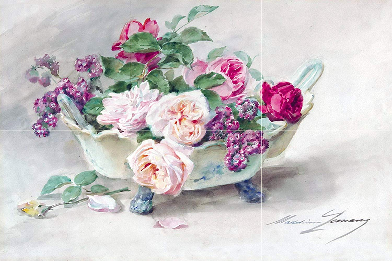 1500x1000 Watercolor Flowers Roses Vase M. Lemaire Tile Mural Backsplash