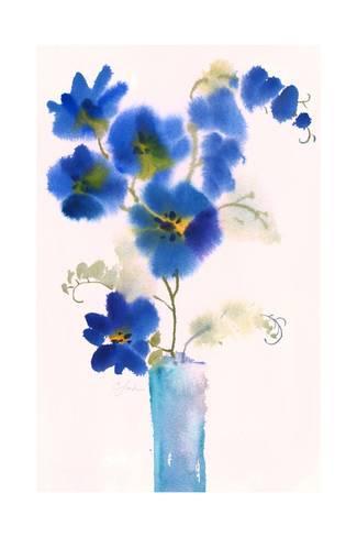 325x488 Watercolor Of Blue Flowers In Vase Prints