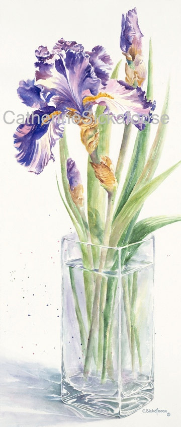 360x848 Purple Iris, Glass Vase, Watercolor Painting, Fine Art Limited