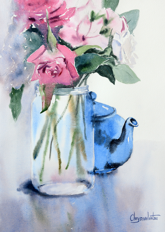 567x800 Teapot Flowers In Vase Painting In Watercolor Chrysovalantou