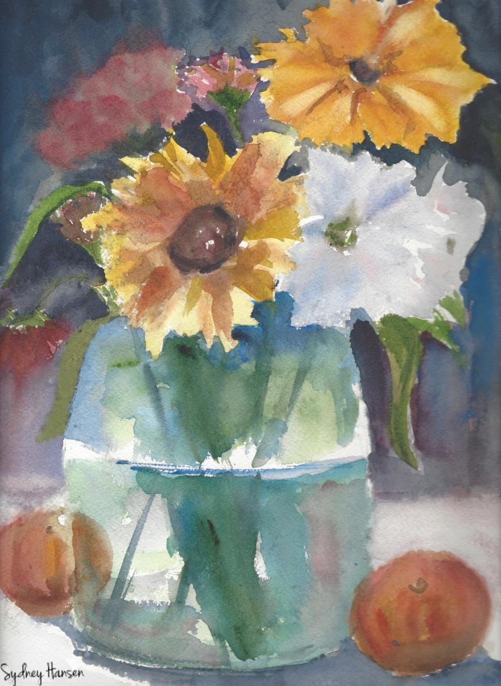 1000x1368 Vibrant Flower Arrangement In A Vase Watercolor Print Peachy