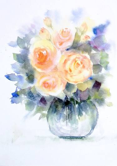 375x531 Cream Roses In A Vase Watercolor Painting Painting By Asudhaker S