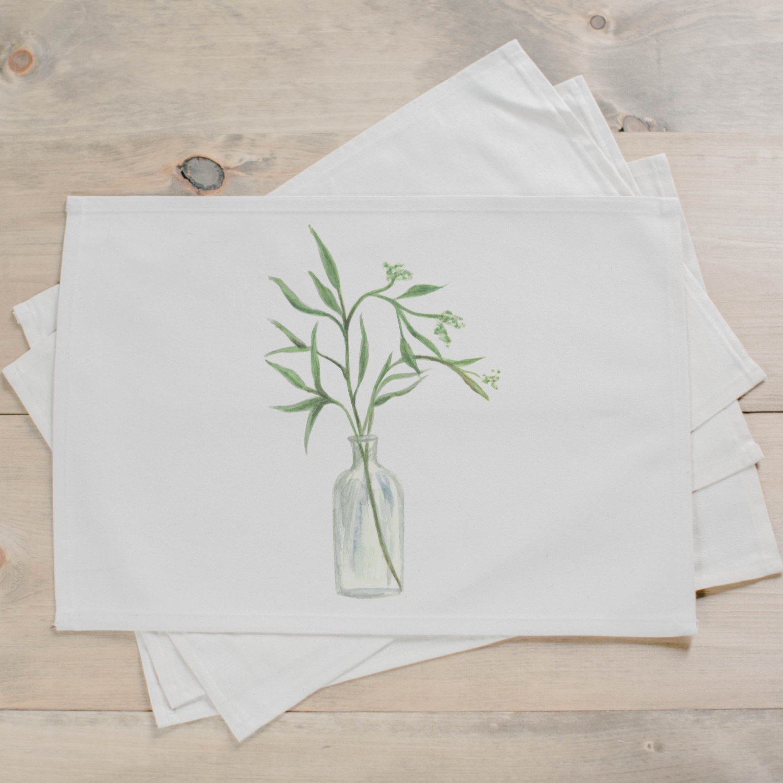 1500x1500 Eucalyptus Vase Watercolor Placemat Pcb Home