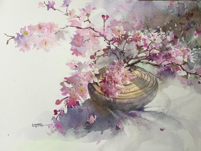 640x481 Faiqa Uppal Artwork Blossoms In Vase Original Watercolor