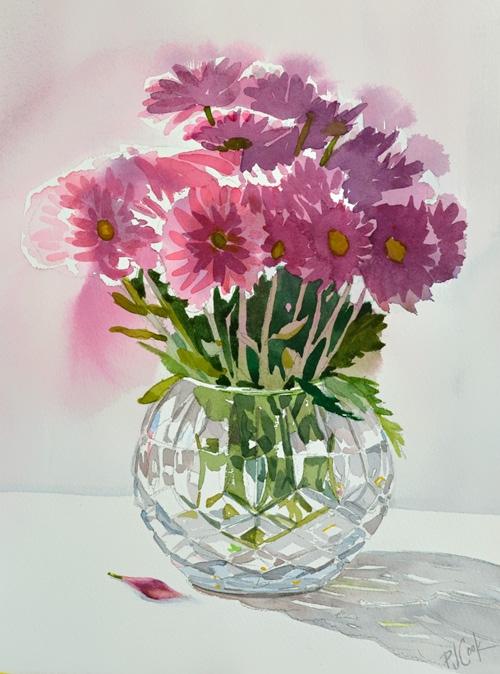 500x674 Flower Vase Watercolor Fresh Flowers In A Vase Watercolor Painting