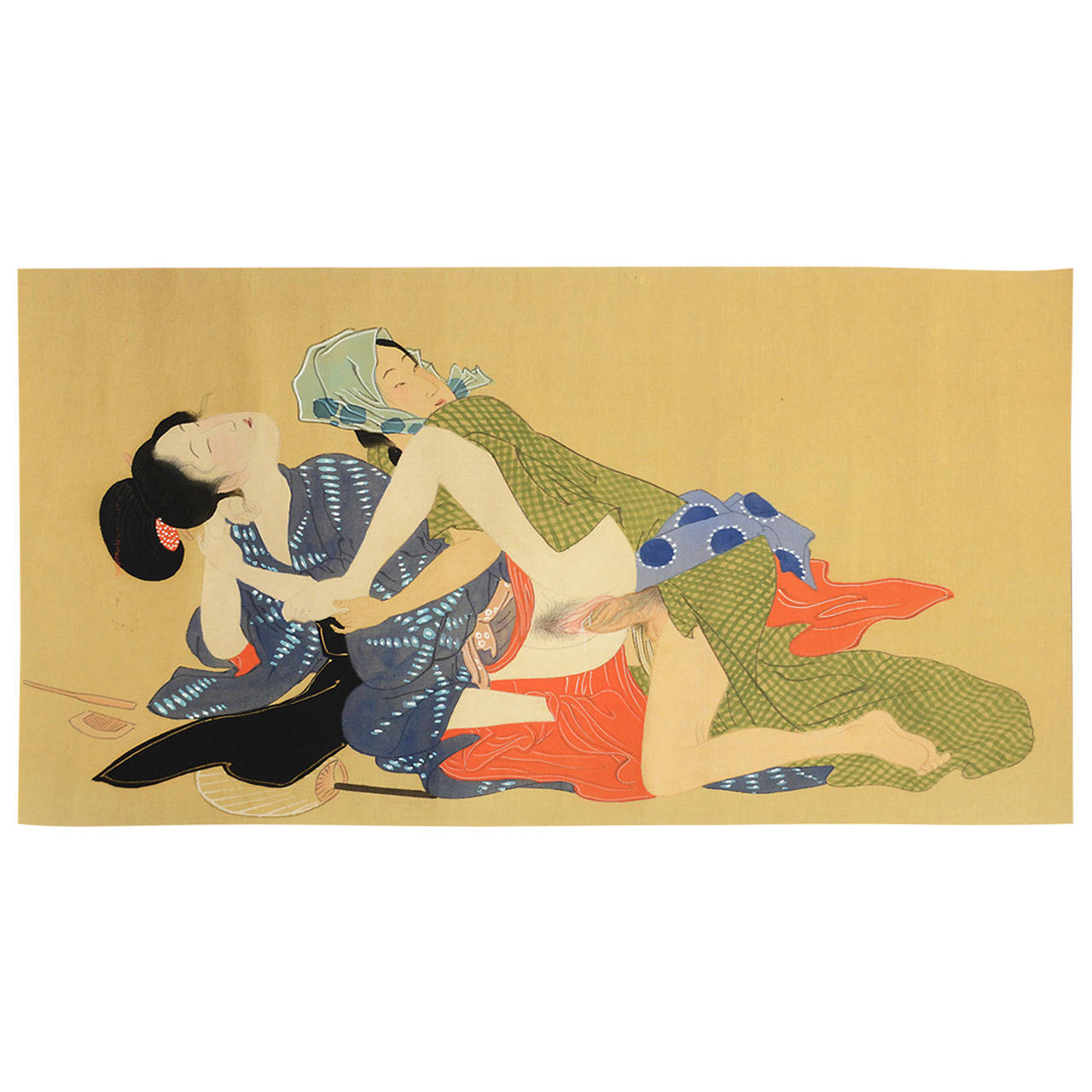 1280x1280 Vintage Japanese Erotic Shunga Scroll, Early 20th Century