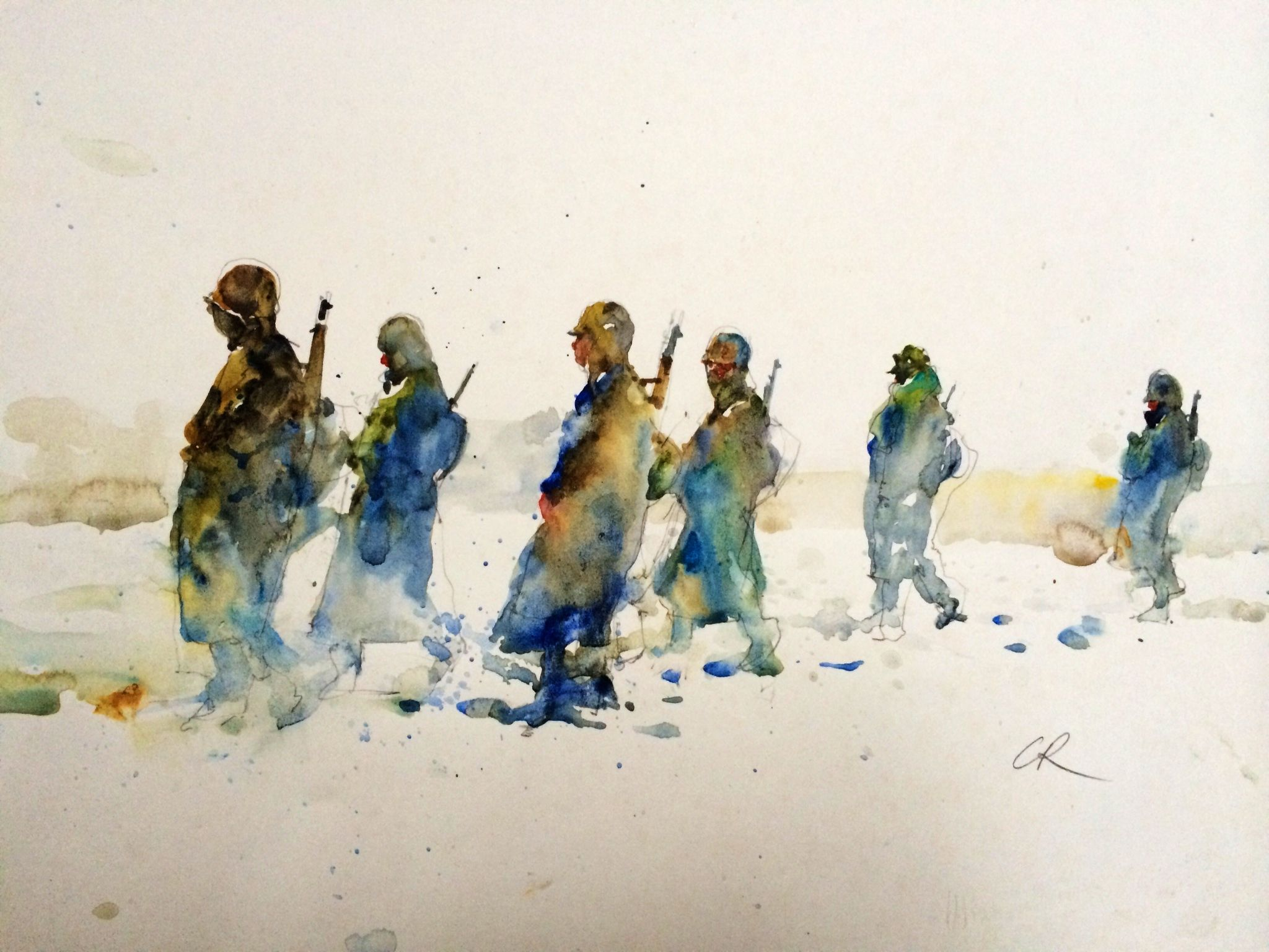 2048x1536 Marines Marching In Korea During The War.watercolor.by Charles