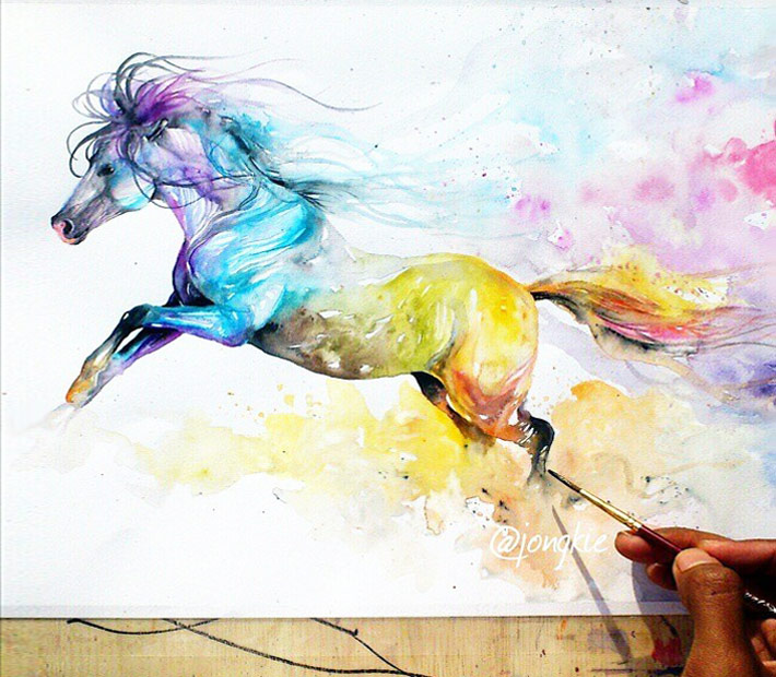 710x620 War Horse Watercolor By Jongkie Art