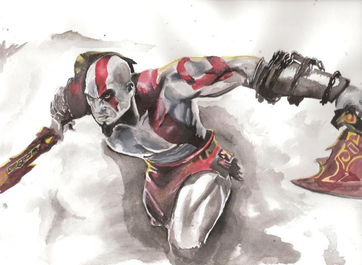 720x528 Watercolor War God Of War In Watercolor By Beautifulchaotic On