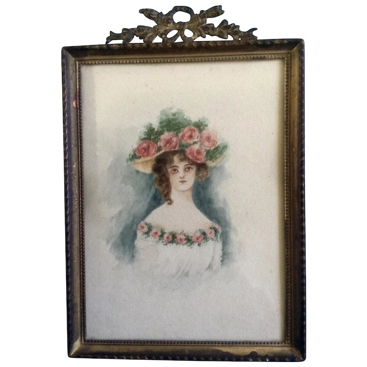 740x740 Civil War Watercolor Painting Woman With A Large Rose Hat, Works