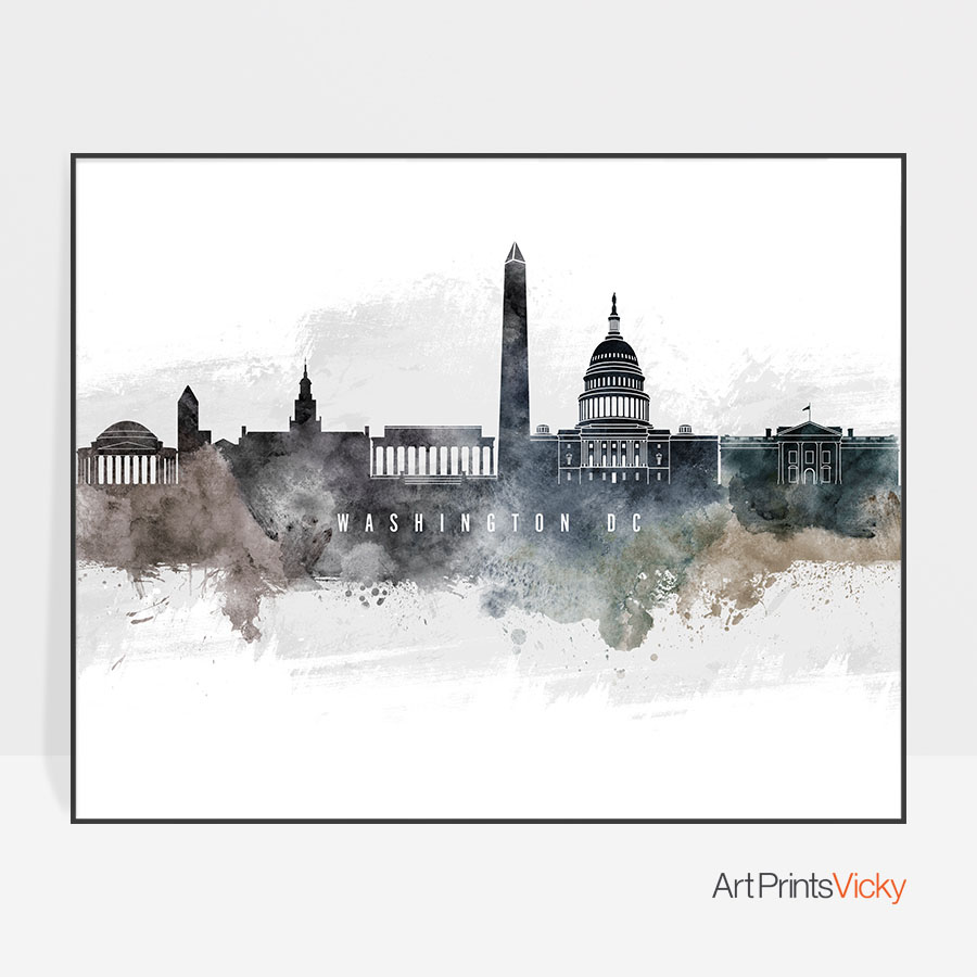 900x900 Washington Dc Art Poster Watercolor Artprintsvicky