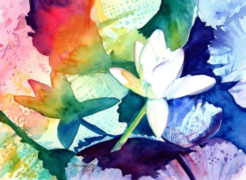 817x600 Water Lily Watercolor, Original Water Lily Art, Tropical Flowers