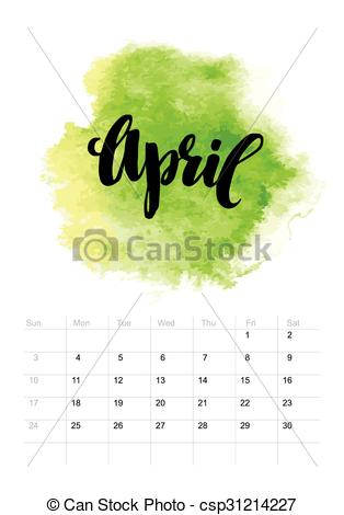 314x470 Calendar With Watercolor Paint 2016 Design. Vector Illustration