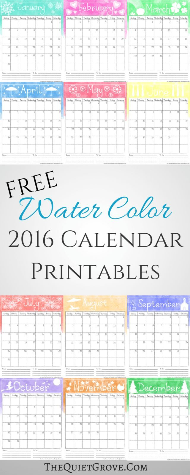 640x1600 Free Watercolor 2016 Printable Calendar Free Printable Calendars