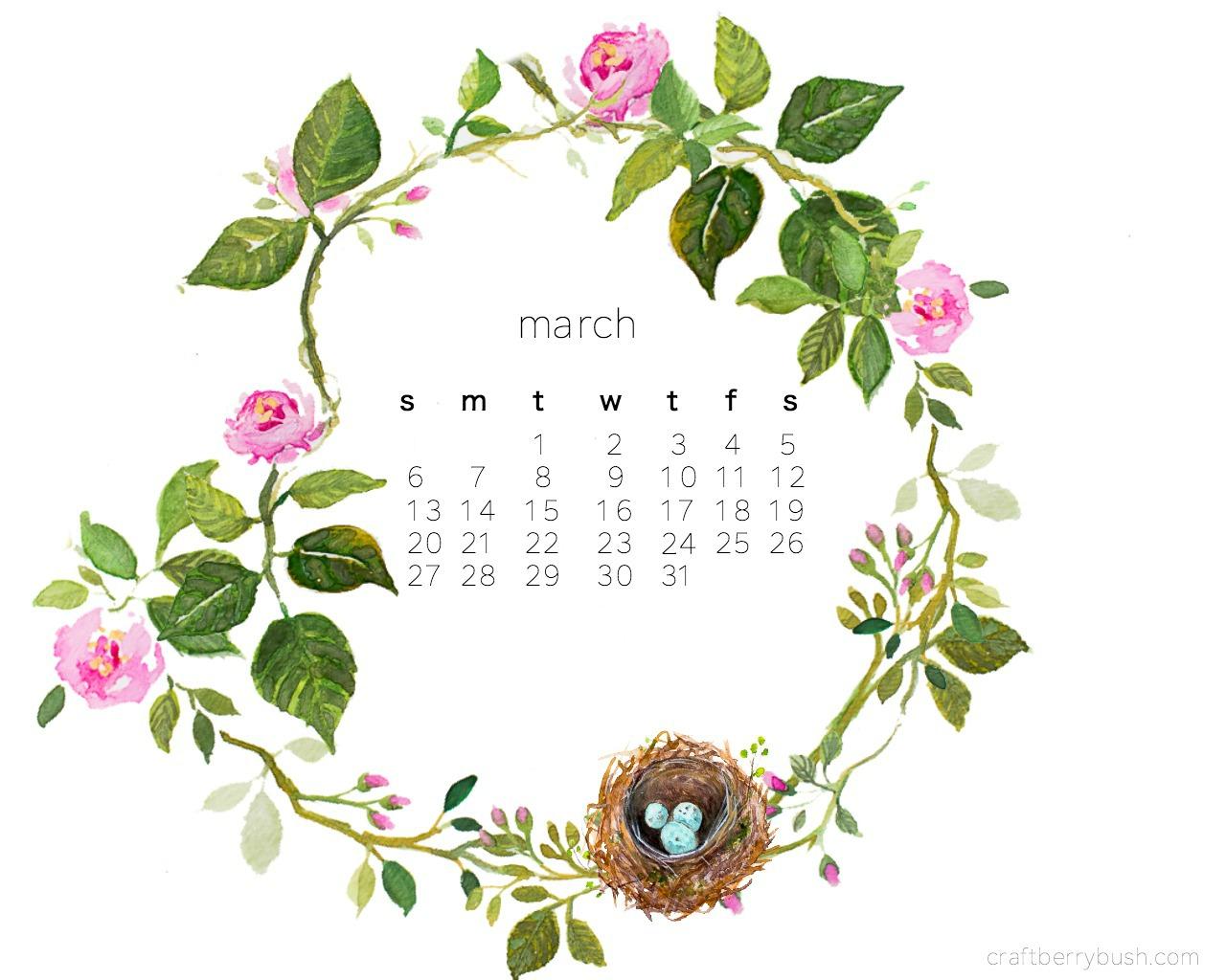 1280x1024 Free March Desktop Watercolor Calendar
