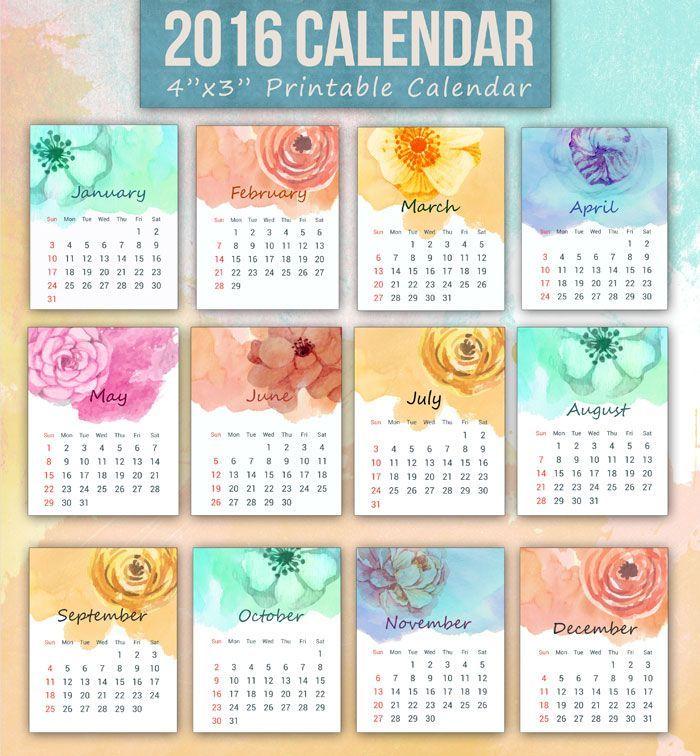 700x756 Free Printable Watercolor Floral 2016 Calendar Freebies Love