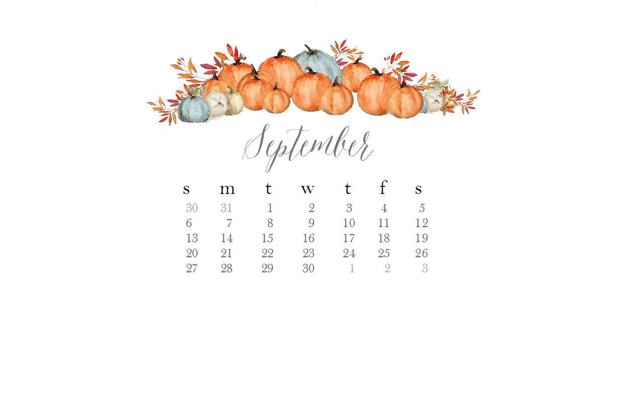 1280x800 Free September Desktop Watercolor Calendar
