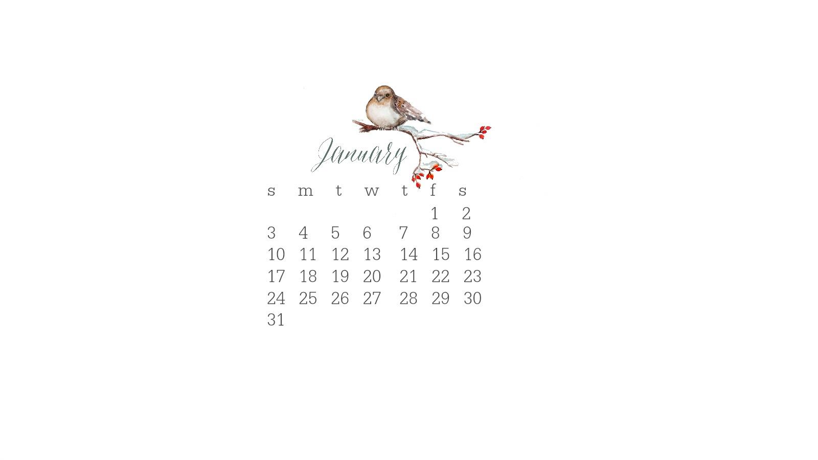 1600x900 January 2016 Watercolor Desktop Calendar
