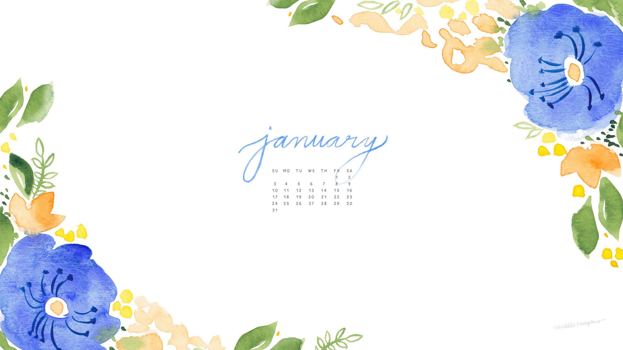 2160x1212 January Watercolor Calendar Desktop Download Custom Watercolor