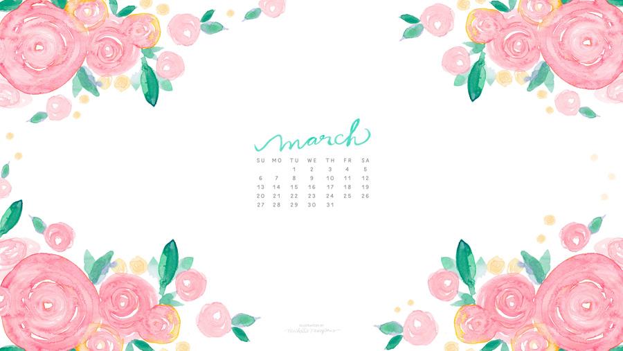 900x507 March Watercolor Calendar Desktop Download Custom Watercolor