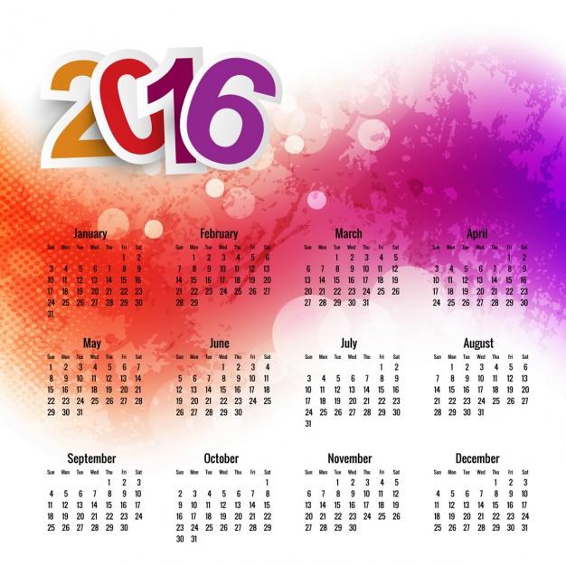 626x626 Watercolor 2016 Calendar Template Vector Free Download