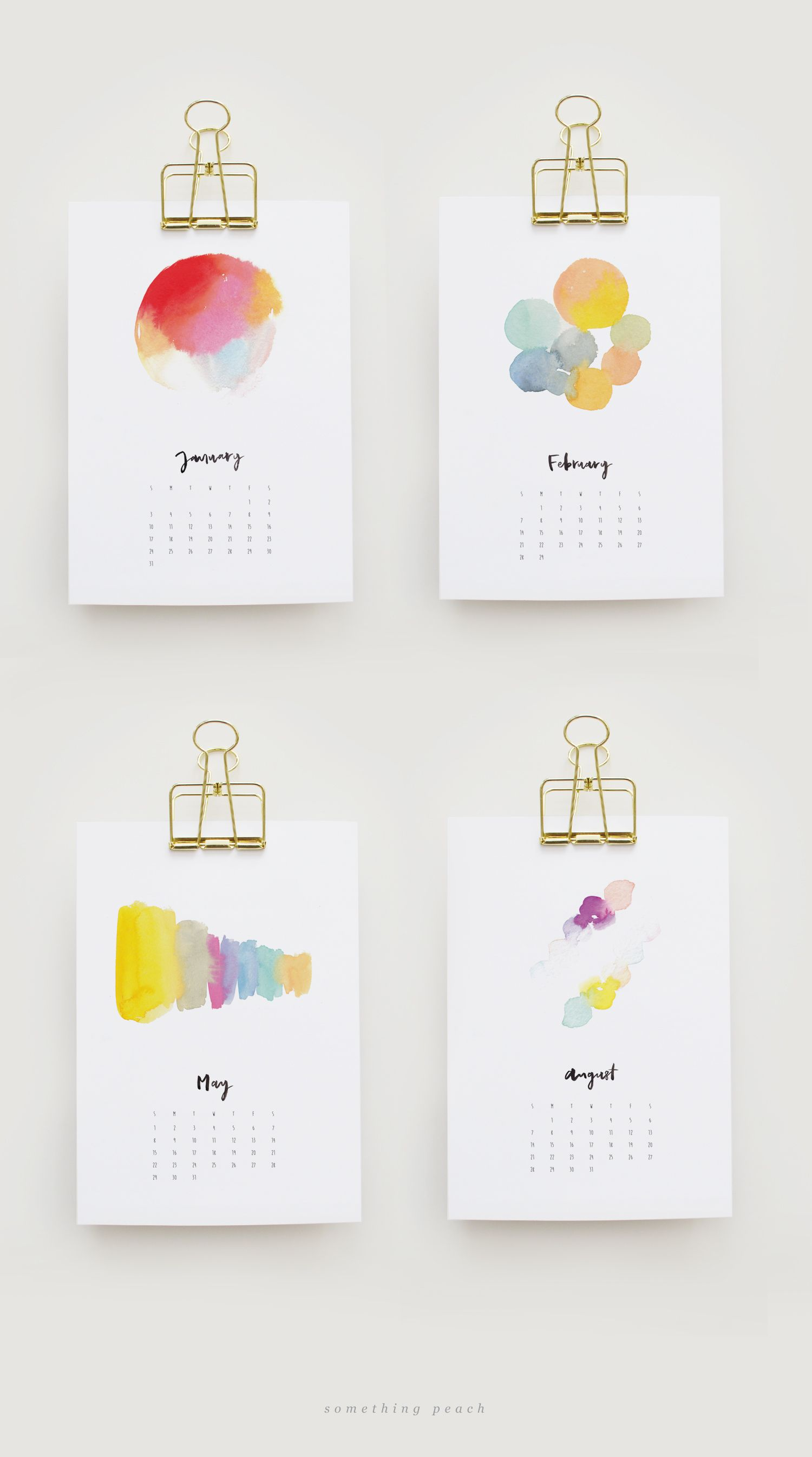 1500x2692 Free Printable 2016 Watercolour Calendar