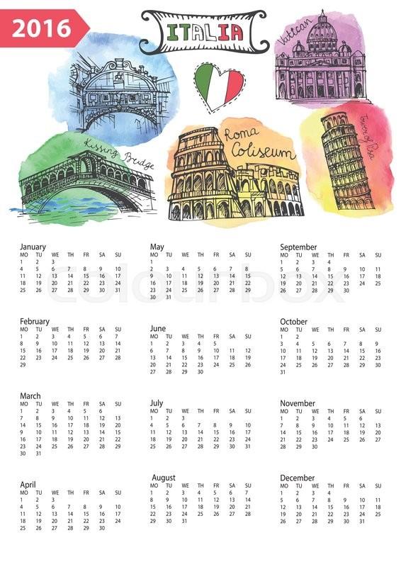 566x800 Calendar 2016 New Year.italy Famous Landmarks Panorama ,skyline