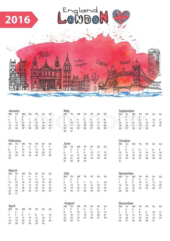 566x800 Calendar 2016 New Year.london Famous Landmarks Panorama ,skyline