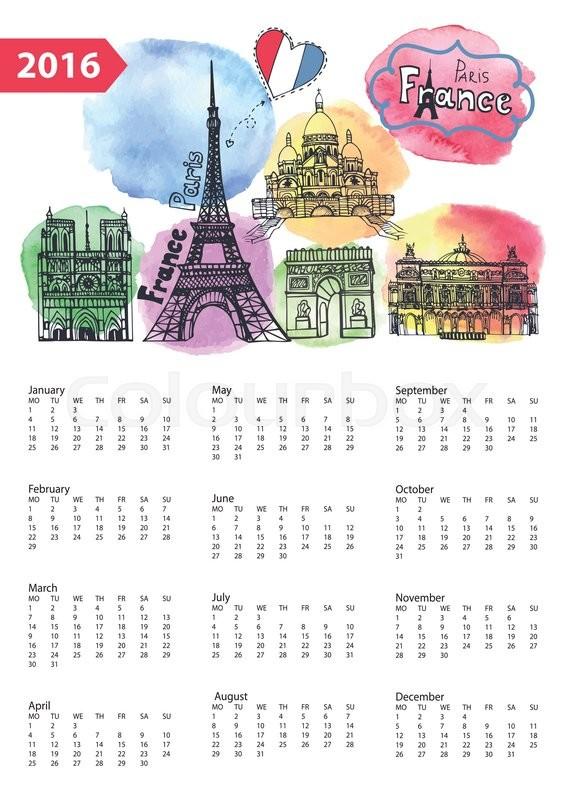 566x800 Calendar 2016 New Year.paris Famous Landmarks Panorama ,skyline