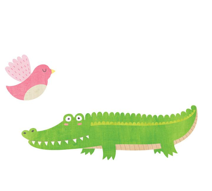 720x648 Alligator And Bird Wall Decal Watercolor Eco Wall Decals