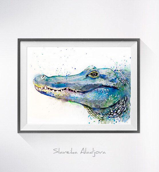 556x604 Alligator Watercolor Painting Print, Alligator Art, Animal