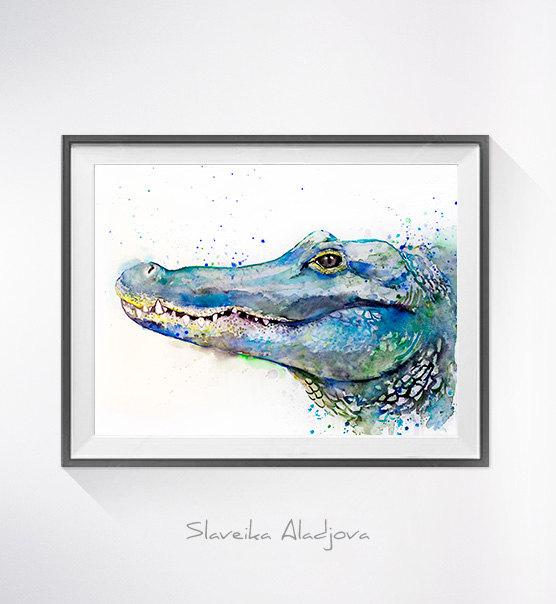 556x604 Alligator Watercolor Painting Print