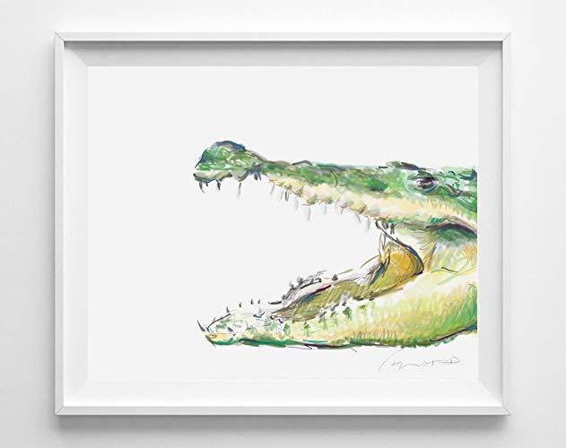 631x500 Alligator Watercolor Painting Handmade