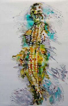 236x366 American Alligator Watercolor Painting Print, Artist Signed