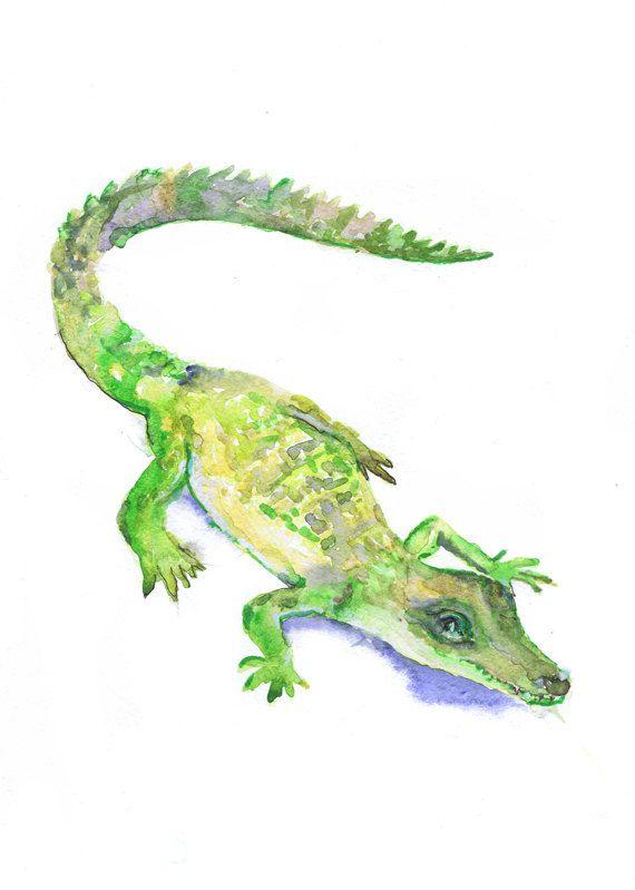 570x799 Baby Alligator Art Watercolor Painting Boy Nursery Decor Crocodile