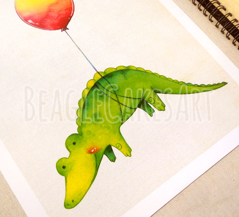 792x720 Baby Alligator With Red Balloon Giclee Illustration Print
