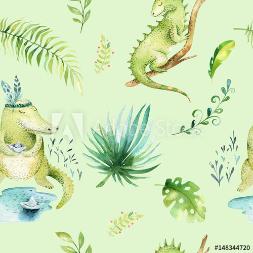500x500 Baby Animals Nursery Isolated Seamless Pattern. Watercolor Boho