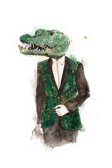 375x562 Lazarus Whimsical Anthropomorphic Alligator Watercolor Painting