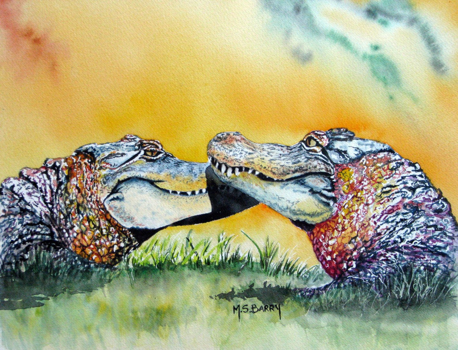 1500x1148 The Kiss Watercolor Alligator Print Of An Original Piece Of Etsy