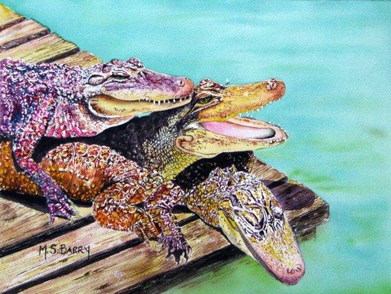 570x428 Three Alligators Pile Up Watercolor Gator Print Etsy