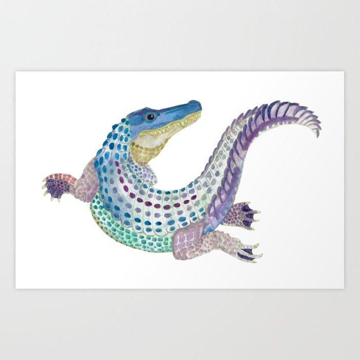700x700 Watercolor Alligator Art Print By Clockworkdragon Society6