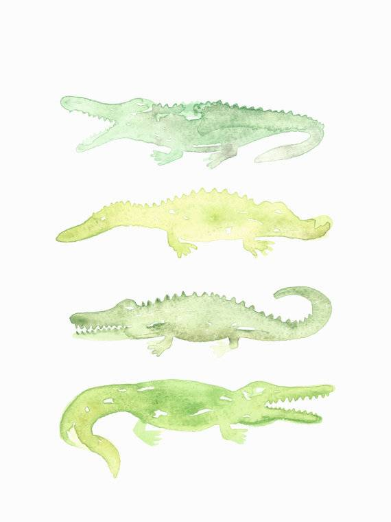 570x760 Watercolor Alligator Print