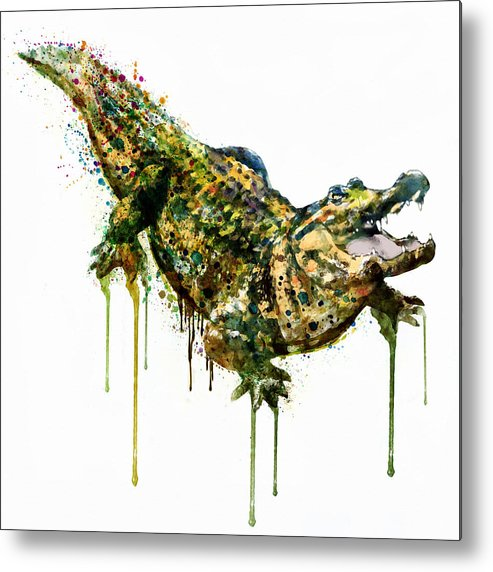 493x572 Alligator Watercolor Painting Metal Print By Marian Voicu