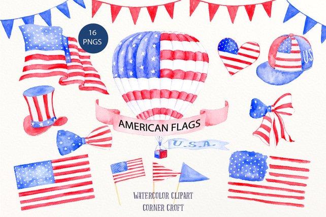 642x427 American Flag Clip Art Watercolor Air Balloon American Hat Etsy