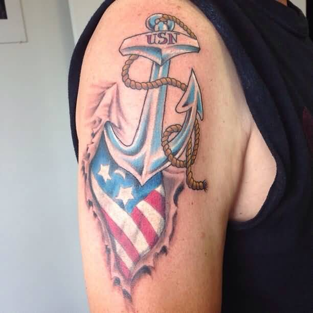 Watercolor American Flag Tattoo
