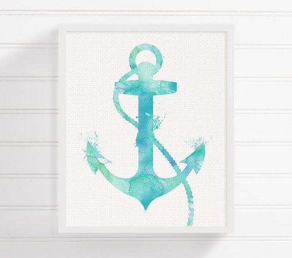 570x503 Watercolor Anchor Anchor Art Print Nautical Anchor Nautical Etsy