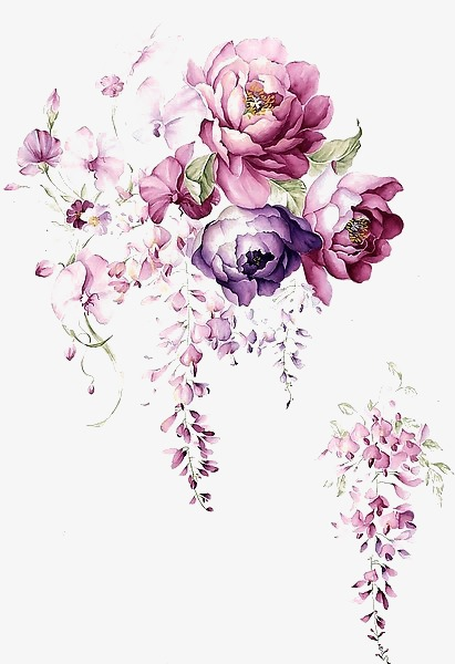 411x600 Watercolor Ink Flower, Flower Vector, Color Ink, Flower Png And